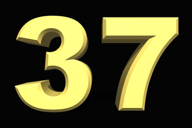 37 thirty seven number 3d blue on a dark background