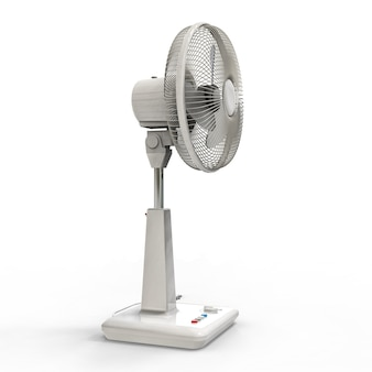 白い扇風機。白い背景の上の3次元モデル