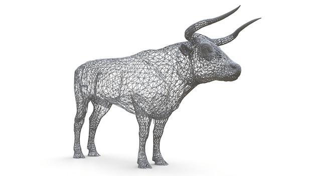 雄牛の3次元メッシュモデル。穏やかな動物の静的な図。多角形フレームの雄牛の彫刻