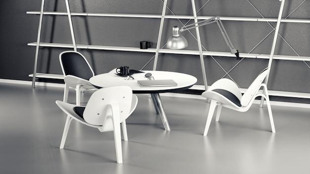 3つの椅子とテーブルがある部屋のインテリア