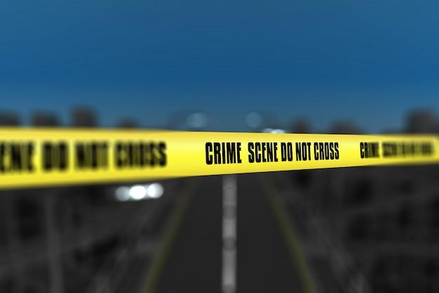 ぼんやりした都市の背景に対する犯罪シーンテープの3次元レンダリング