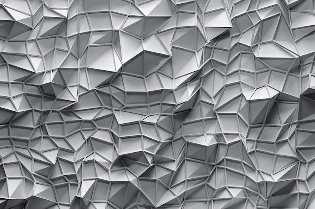 薄い灰色の上に三角形とフレームを持つ多角形の3次元曲面