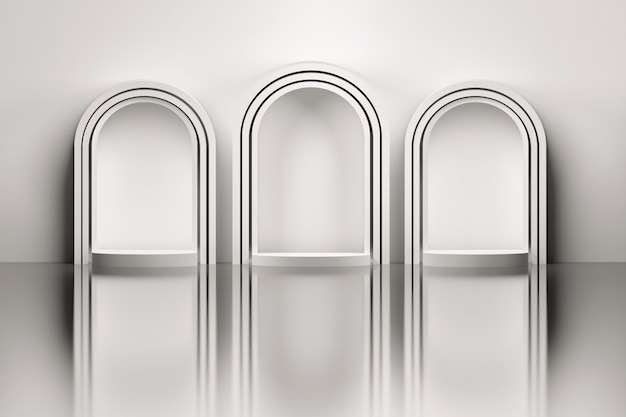 鏡の床の上の3つの白いアーチ
