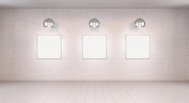 壁に3つの白い空白のキャンバス
