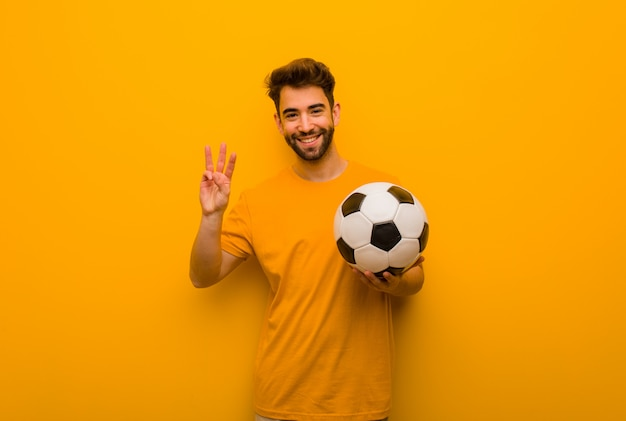 番号3を示す若いサッカープレーヤー男