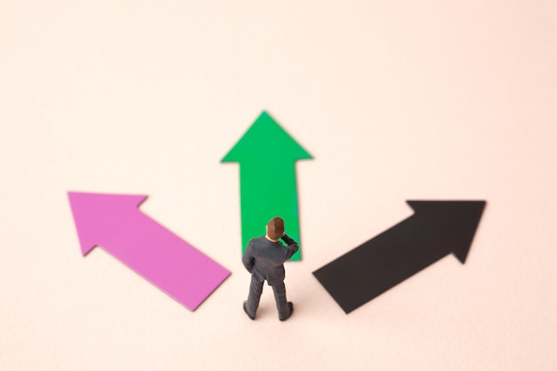 ミニチュアビジネス人と3つの方向矢印