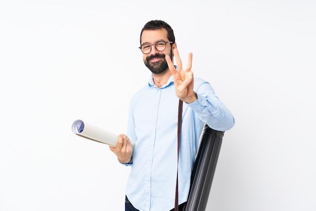 幸せとひげを数えて3本の指で若い建築家男