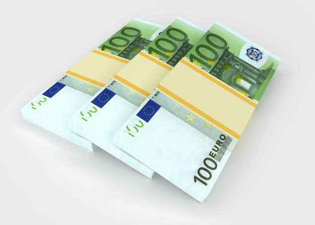 ユーロのお金の3つのパックは隣同士にあります