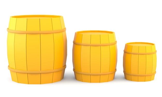 3つの黄色の樽