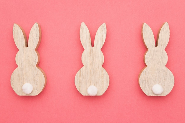 トップビュー3つのウサギの装飾