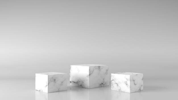 背景に豪華な3つの白いボックスの大理石のショーケース表彰台