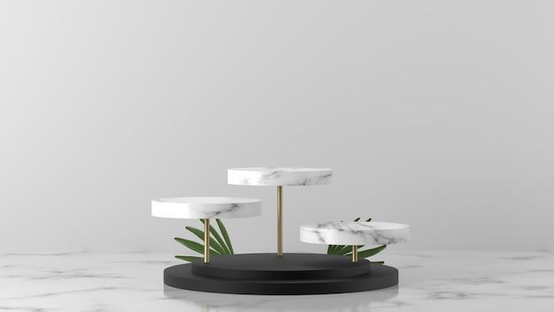 豪華な3つの白い大理石のボックスショーケース表彰台と白い背景の緑の葉