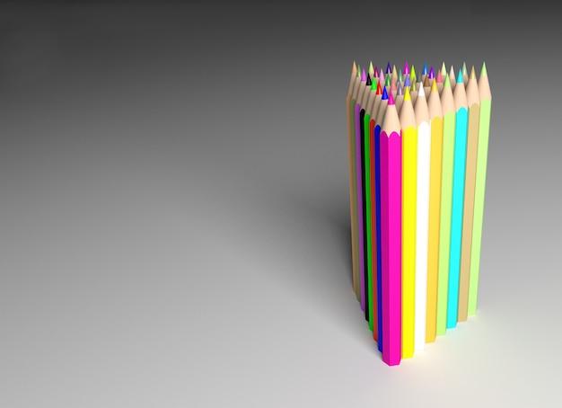 色鉛筆、3次元レンダリング