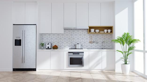 Современная кухня интерьер белой комнаты .3дрендер