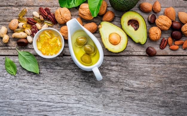 オメガ3と不飽和脂肪の選択食物源。