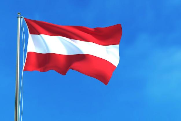 青空のオーストリアの国旗背景3次元のレンダリング