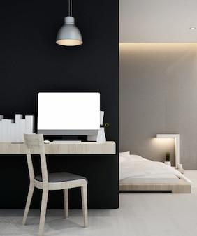 Рабочее место и спальня дома или квартиры, интерьер 3