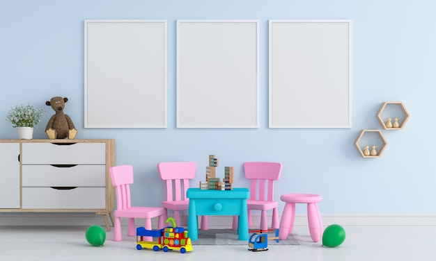 子供部屋のモックアップのための3つの空白のフォトフレーム