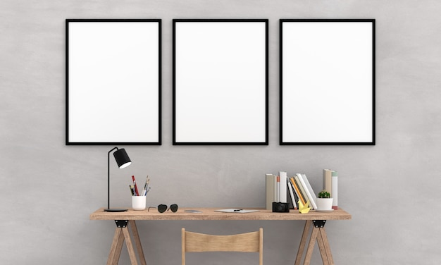 壁にモックアップのための3つの空白のフォトフレーム