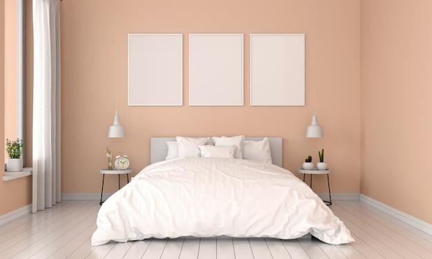 茶色の寝室のインテリアとモックアップのための3つの空のフォトフレーム