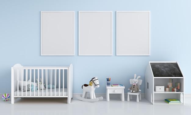 子供部屋のモックアップのための3つの空のフォトフレーム