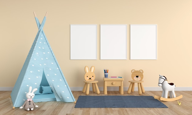 子供部屋の3つの空の空白のフォトフレーム