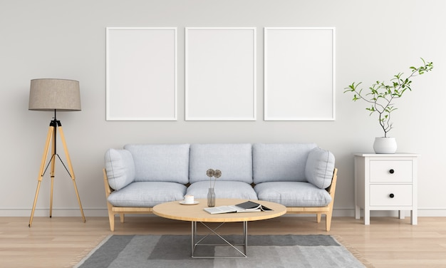 リビングルームで3つの空の空白のフォトフレーム