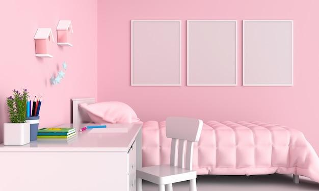子供の寝室の3つの空白のフォトフレーム