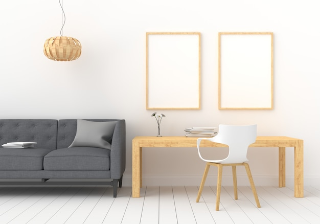 白い部屋のモックアップの3つの空のフォトフレーム