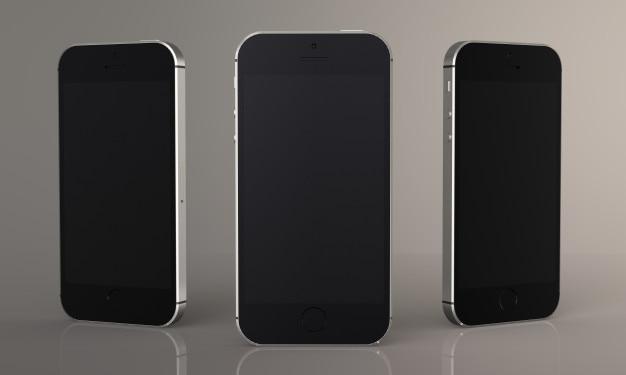 3次元のレンダリングモックアップのための現代的なスマートフォン、