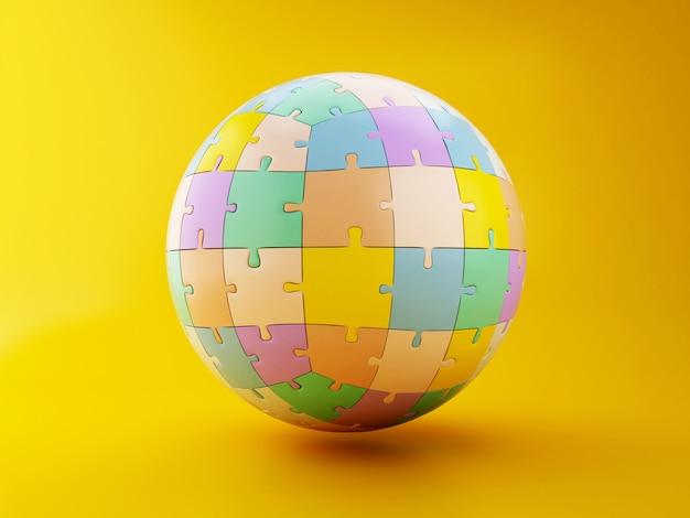 3次元球形ジグソーパズル