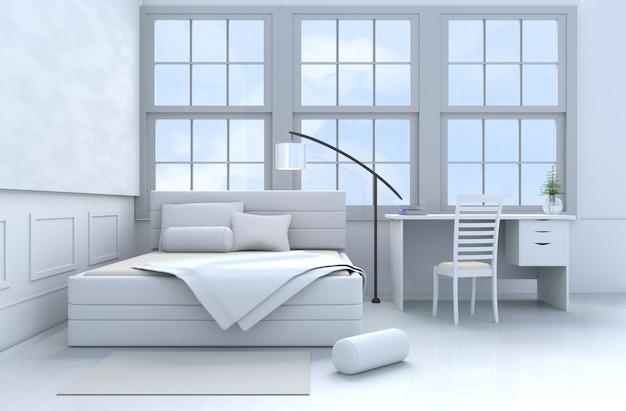 白いベッドルームインテリアの枕、毛布、窓、ランプ、机、ベッド、ボルスター、椅子、壁のパターン。 3