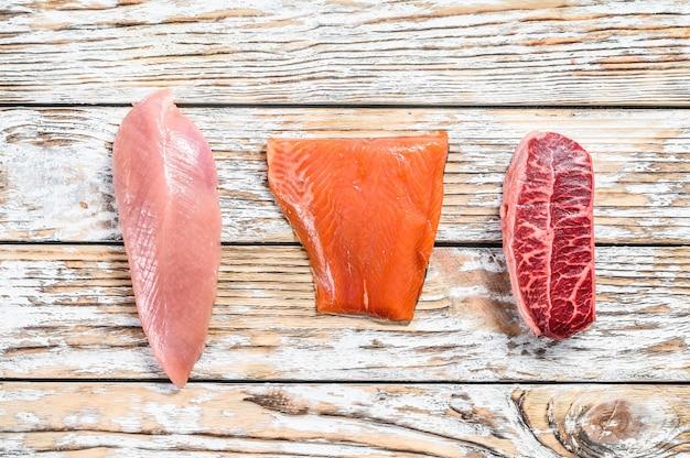 木製のテーブルに3種類のステーキ。ビーフトップブレード、サーモンフィレ、七面鳥の胸肉。白の有機魚、鶏肉、牛肉。上面図