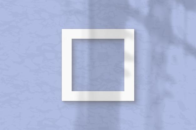 3 квадратный лист белой текстурированной бумаги на синем фоне стены. планировка с наложением теней растений естественный свет отбрасывает тени из окна. плоская планировка, вид сверху. горизонтальная ориентация