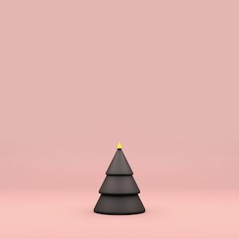ピンクの背景にグレーとゴールドのクリスマスツリー。最小コピースペース。 3dレンダリング。 2020年