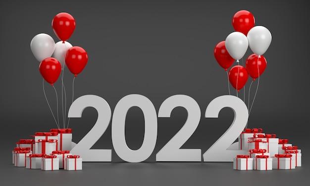 3d. 2022 воздушные шары, подарочная коробка, новогодняя елка на рождество и новый год на черном фоне