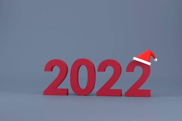3d. шрифт 2022 и шляпа санта-клауса на рождество и новый год на белом фоне