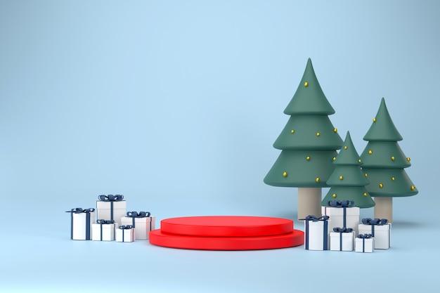 3d. шрифт 2022, подиум, подарочная коробка, новогодняя елка на рождество и новый год на фоне biue