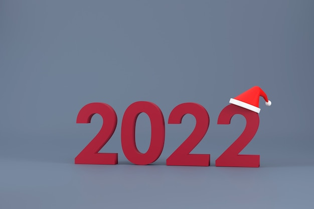 3d. 2022 font and santa claus hat at christmas and new year on a white background