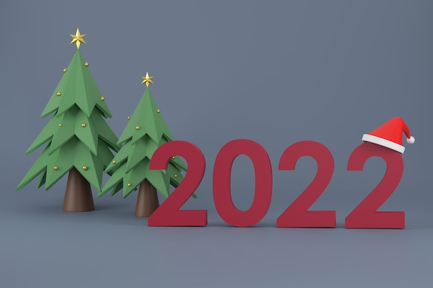 3d. шрифт 2022, шапка санта-клауса, елка на рождество и новый год на белом фоне