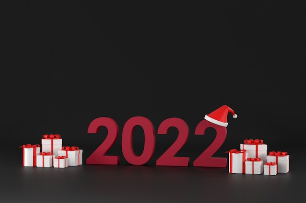 3d. шрифт 2022, шляпа санта-клауса, подарочная коробка, на рождество и новый год на белом фоне