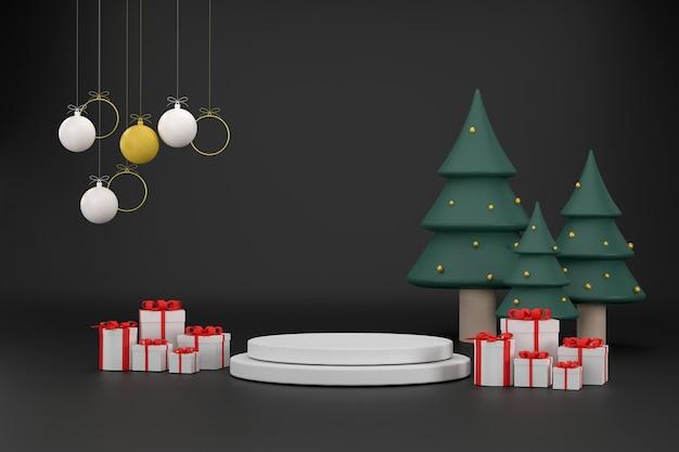3d 2022 шрифт шапка деда мороза подарочная коробка новогодние шары новогодняя елка на рождество и новый год