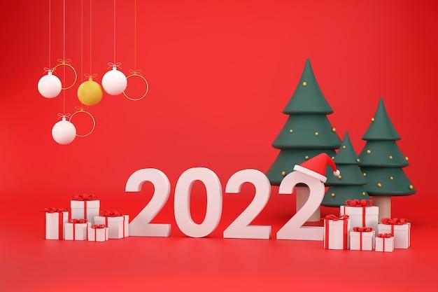3d 2022 font santa claus hat gift box christmas balls christmas tree at christmas and new year