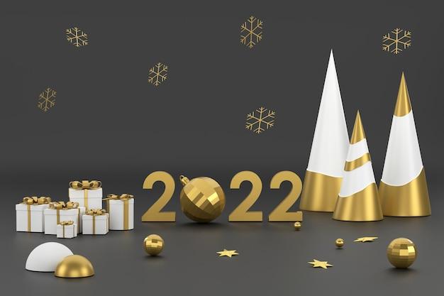3d 2022 золотая елка и подиум для демонстрации продукции на рождественском фестивале