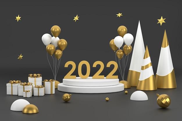 3d 2022 золотой елочный шар и подиум для демонстрации продукции на рождественском фестивале