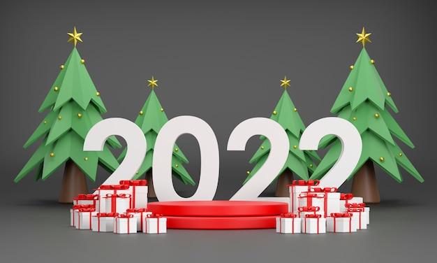 3d 2022 подиум шапка деда мороза подарочная коробка новогодняя елка на рождество и новый год