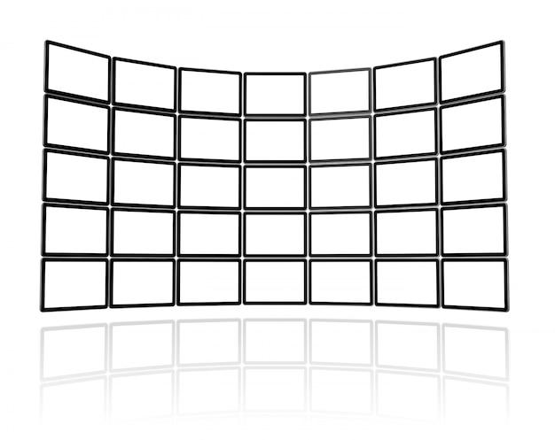 3d видео стена из плоских экранов телевизоров, изолированных на белом. с 2 обтравочными контурами: глобальный обтравочный контур сцены и обтравочный контур экранов для размещения ваших дизайнов или изображений