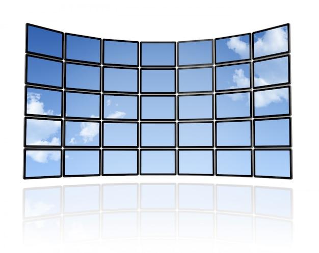 3d небо стена плоских экранов телевизоров, изолированных на белом. с 2 обтравочными контурами: глобальный обтравочный контур сцены и обтравочный контур экранов для размещения ваших дизайнов или изображений