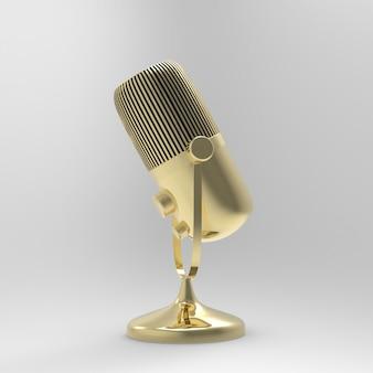 3dマイク。ラジオ番組やオーディオのポッドキャストのコンセプト。ビンテージマイク3 dイラスト