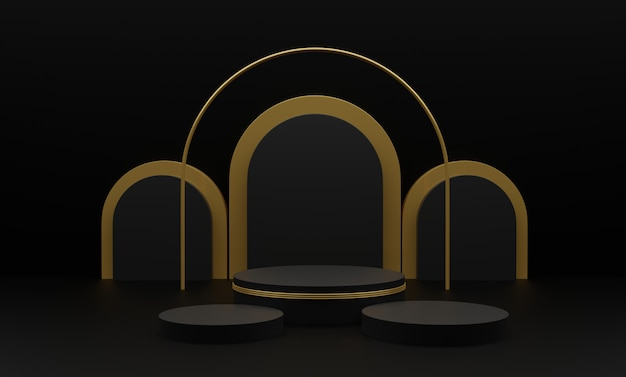 3d представило иллюстрацию с геометрическими 3 формами. золотые цилиндрические подиумные платформы для презентации продукции. абстрактная композиция в современном стиле.